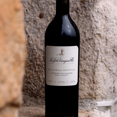 La Jota Cabernet Sauvignon Bottle Shot on a stone wall